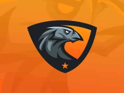 Hawk Shield Logo - eSports Team eagle orange bird hawk shield gaming team esports