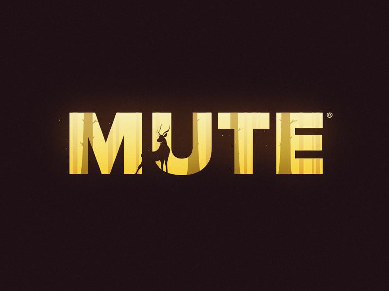 Mute text negative space woods type logo mute deer