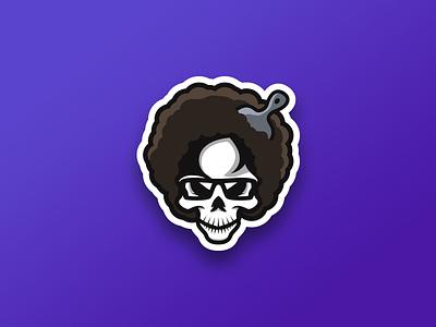 Afroooo Skuuullll creative grenade head pick design logo hair mascot skull afro