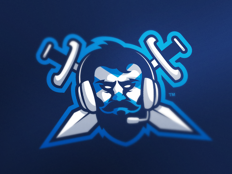 Blue Beard Clan Logo scottish beard blue clan logo esports mascot