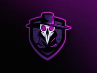 """Crow"" Mascot Logo doctor mask bird shield hat pink purple logo game gaming esports mascot crow"