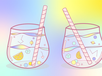 Galaxy Cocktail cocktail galaxy conceptual taste blue pink purple yellow summer fun cute straws space planets drink pastel vector minimal design illustration