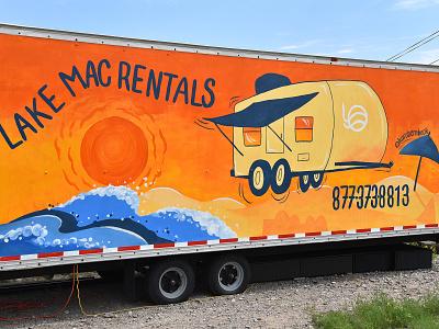Happy Camper Mural mural flat branding logo illustration design