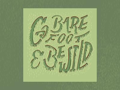Go Barefoot art print procreate digital illustration typography illustration design