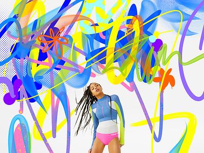 Nike Icon Clash x Robu nike sports graphics abstract flowers key visual key art graffiti