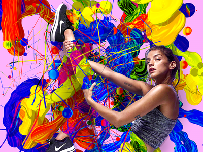 Nike Women colors generative art sports graphics female athlete