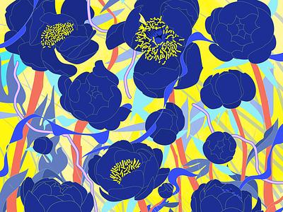Wild Peonies key art flowers illustration peonies