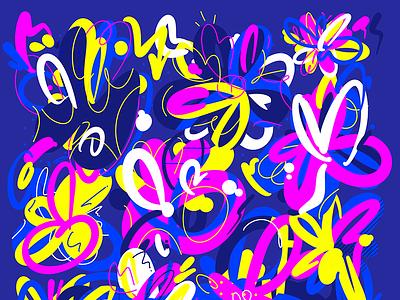 Graffiti Flowers key visual key art pattern flowers abstract art graffiti