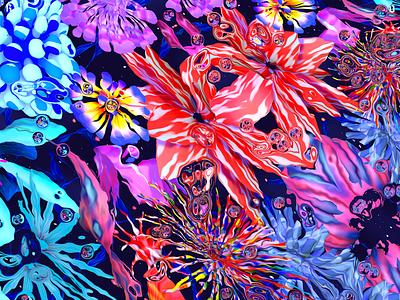 Underwater Flowers wallpaper design colorful mobile flowers illustration flowers keyvisual wallpaper