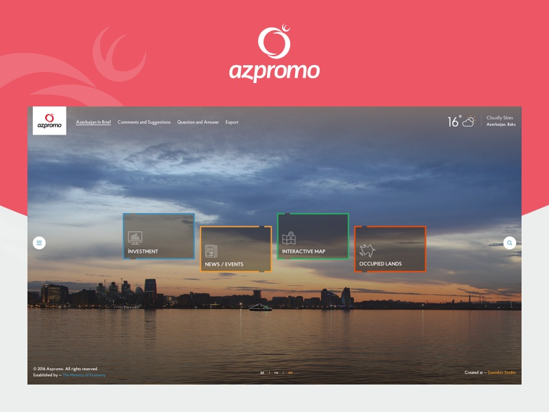 AZPROMO baku ux ui website foundation promotion investment export azerbaijan