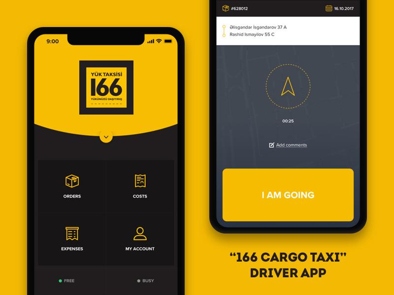 """""""166 Cargo Taxi"""" Driver app car yellow ios mobile ui ux app taxi baku azerbaijan cargo"""