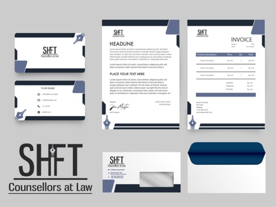 Shift stationery mockup flat minimal typography design illustration