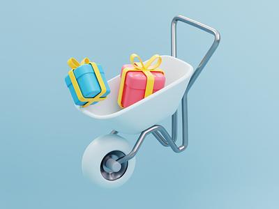 Cute 3D Wheelbarrow webdesign 3dmodelling 3ddesign 3dicon 3dillustration design illustration ui blender3d appdesigner 3dhands