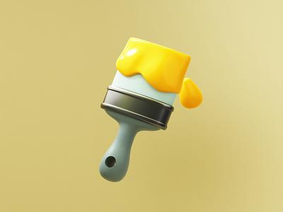 Splashing 3D Paintbrush blender visuals uxdesign uidesign webdesigner webdesign appdesign 3dartist 3dicons 3dillustrations paintbrush