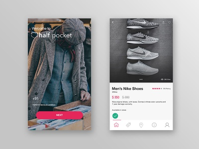 Half Pocket shopping android ios mobile app ecommerce