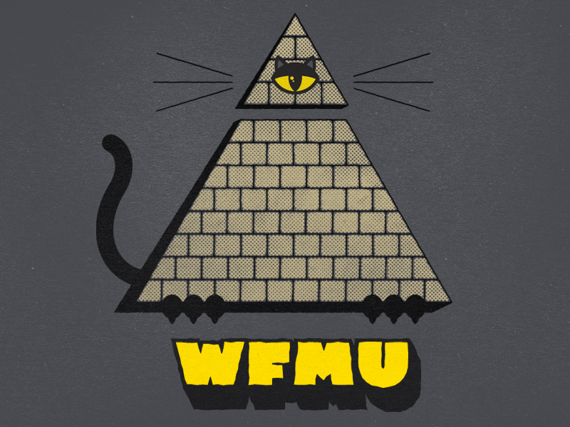 The All Meowing Eye illuminati cat wfmu tee shirt