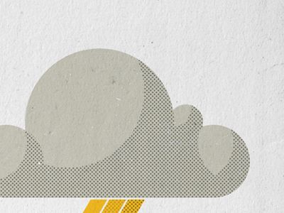 Clouds so swift, the rain won't lift... cloud halftone illustration screen print