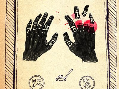 7 Finger IPA beer ipa cobbler type label blood maimed hands hand drawn
