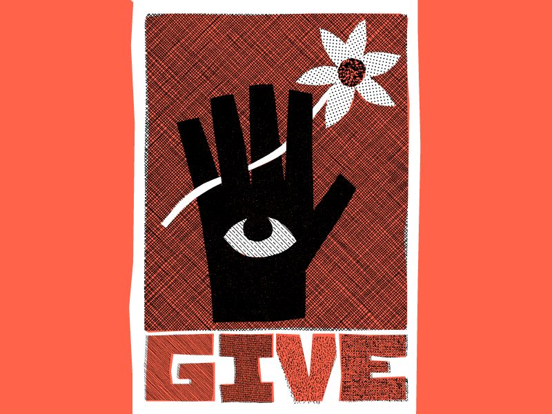 Give flower eye hand hires give