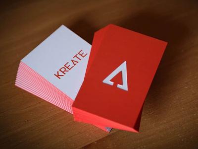 Modern Die Cut Business Cards branding cards logo red arrow modern diecut design print triangle font business card
