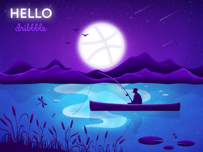 Hello Dribbble! lake moonshine night noise vector illustration fisherman