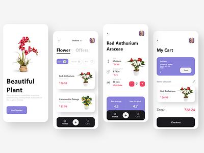 Plant App Design uidesigner uxdesigner uiux uxdesign uidesign icon ux android adobe xd ui minimal design app design app