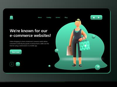 Landing page for e-commerce shop dribbble web designer web design website web ux designer ui designer adobe xd uxdesign uidesign uiux android app design app ux ui minimal design