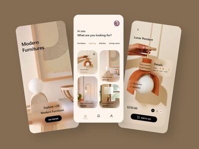 Furniture App Design webdesign user experience userinterface uxdesigner uidesigner uxdesign uidesign uiux ux ui typography branding icon logo adobe xd illustration android app design app minimal
