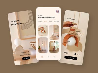 Furniture App Design webdesign user experience userinterface uxdesigner uidesigner uxdesign uidesign uiux ux ui typography branding icon logo adobe xd illustration android app design app minimal