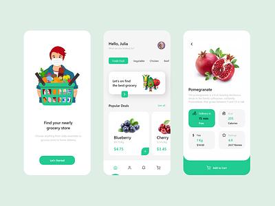 Grocery Store App dribbble figma uxdesigner ux uidesigner uiux uxdesign ui design flat branding web typography illustration android logo app design ui minimal