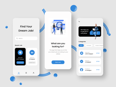 Find Job App branding logo webdesign 3d design app design illustration app uidesign uxdesign ux ui minimal