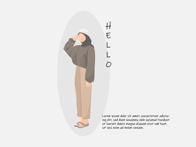 HIjab Girl Hello For Introduction Flat Illustration flat illustrations hijab woman girl illustration girl hijab vector design illustration