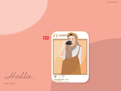 Hijab With Camera on Social Media minimal girl web app vector illustration hijab woman girl illustration flat illustrations design