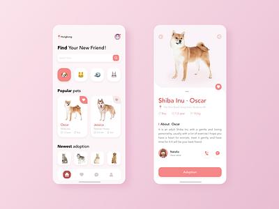 Pink Adopt pets app interface pets pink illustration app ux ui design