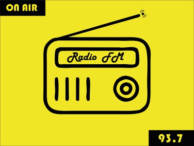 Radio air online fm radio black duality yellow logo illustration illustraion vector design