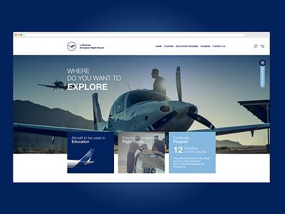 Lufthansa European Flight School Ui hero slider love blue clean design minimalistic web ui color school flight fly ui