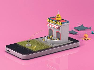 Funfair on phone #3 fish duck a hook phone funfair