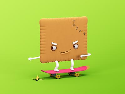 Petit Enfant Biscuit skateboard biscuit character design 3d