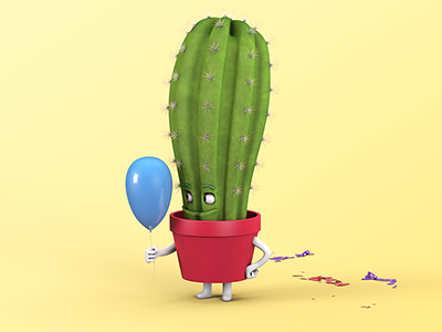 Petit Enfant Cactus balloon cactus character design 3d