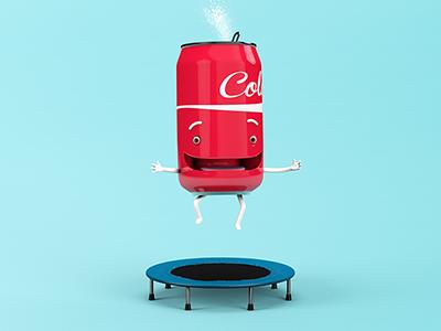 Petit Enfant Soda trampoling cola character design 3d