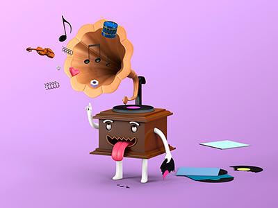 Petit Enfant Gramophone music gramophone character design 3d