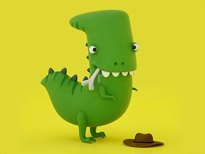 36 days of type - letter J tyrannosaurus jurassicpark dinosaur character design 3d