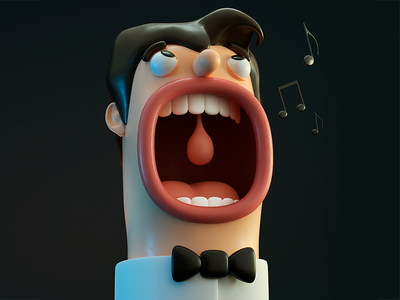 36 days of type - letter O singer opera letter o 36dayoftype character design 3d