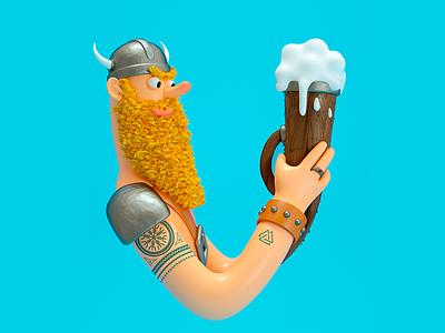 36 days of type - letter V letter beer viking 36dayoftype character design 3d