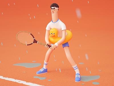 Tennisman - Roland Garros rubber duck illustration character design 3d tennis roland garros