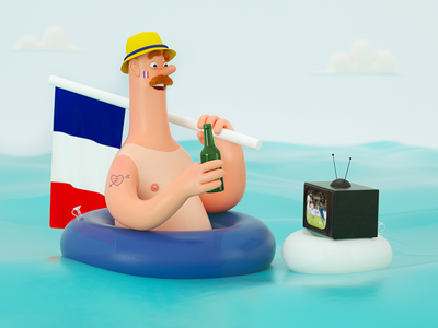 Football Fan world cup 2018 sea beer illustration france foot worldcup2018 character design 3d