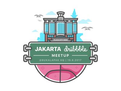 Jakarta Dribbble Meetup x Bukalapak sketch illustration flat design line art indonesia plaza city view dribbble jakarta meetup bukalapak
