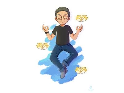 Zen Master lotus sketch illustration zen