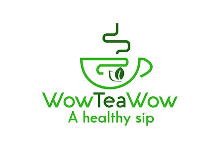 wow tea LOGO for client logo design design wordmark logo illustration logo minimal lettermark adobe illustrator typography logodesign