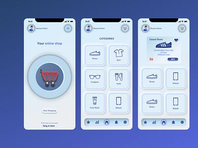 Online Shopping app design using auto layout cart e commerce app design app figma branding motion graphics graphic design animation ui